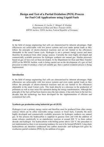 Design and Test of a Partial Oxidation (POX) Process for Fuel Cell ...