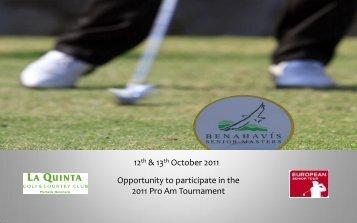 Pro-am Team Entry - Benahavis Senior Masters - European Tour