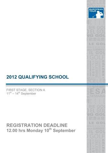 2012 qualifying school registration deadline