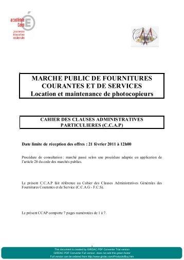 MARCHE PUBLIC DE FOURNITURES COURANTES ET DE ...