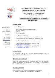 RC marché 2010-05 produits d'entretien - Académie de caen