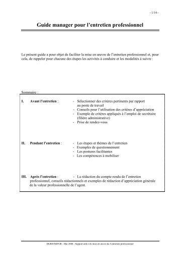 Guide manager pour l'entretien professionnel - Académie de caen