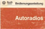 Bedienungsanleitung Autoradios - Audi 100