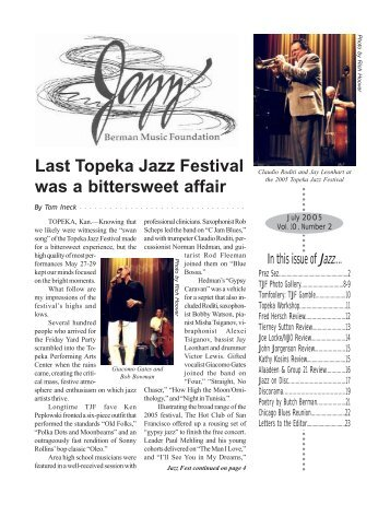Last Topeka Jazz Festival - Berman Music Foundation