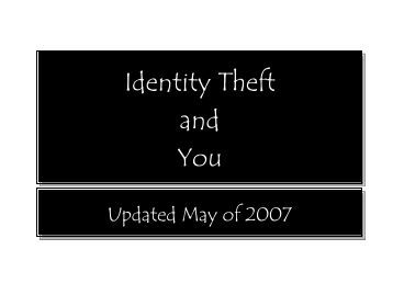Identity Theft and You - Chipola College