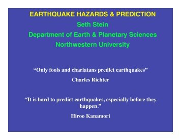 Predict earthquakes - Department of Earth and Planetary Sciences ...