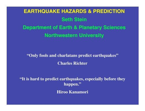 Predict earthquakes - Department of Earth and Planetary Sciences
