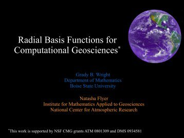 Radial Basis Functions for Computational Geosciences*