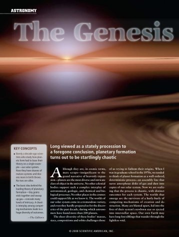The genesis of planets., Scientific American, May, 2008. Pg 50-59