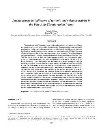 Impact craters as indicators of tectonic and volcanic activity in the ...