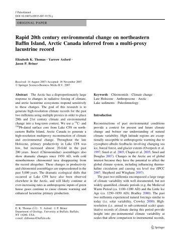 Rapid 20th century environmental change on northeastern Baffin ...