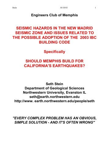 SEISMIC HAZARDS IN THE NEW MADRID SEISMIC ZONE AND ...