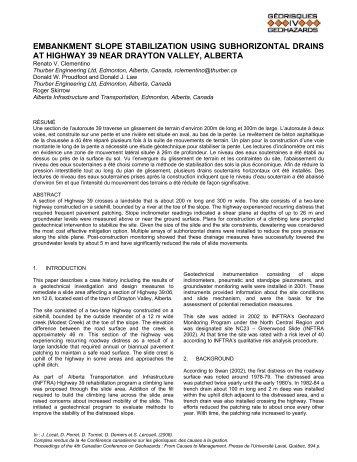 Embankment slope stabilization using subhorizontal drains at ...