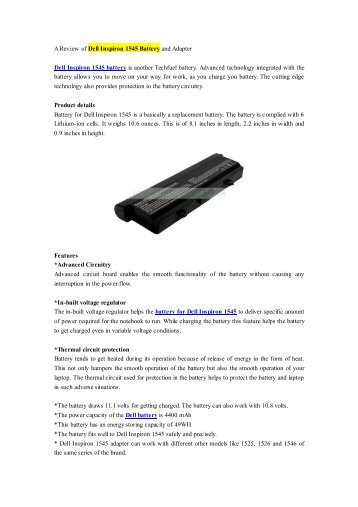 A Review of Dell Inspiron 1545 Battery and Adapter.pdf