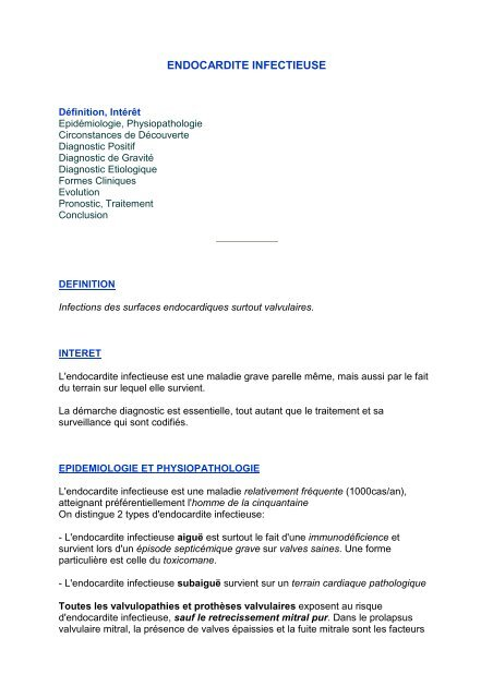 endocardite infectieuse - Myg-one.fr