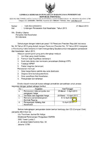 Penawaran E-catalogue Alkes 2013 - Registrasi Alat Kesehatan ...