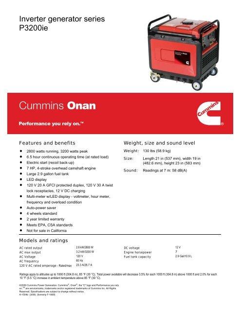 Inverter generator series P3200ie - Cummins Onan