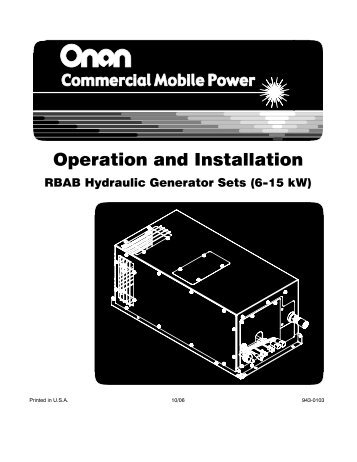 Operation and Installation - Cummins Onan