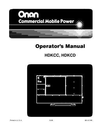 Operator's Manual - Cummins Onan