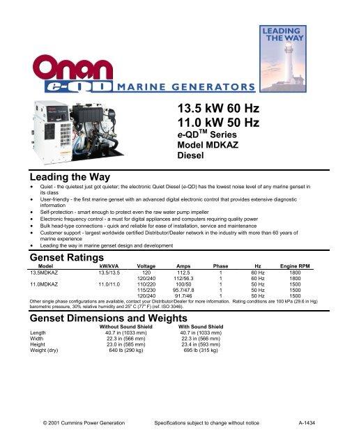 13 5 kW 60 Hz 11 0 kW 50 Hz - Cummins Onan