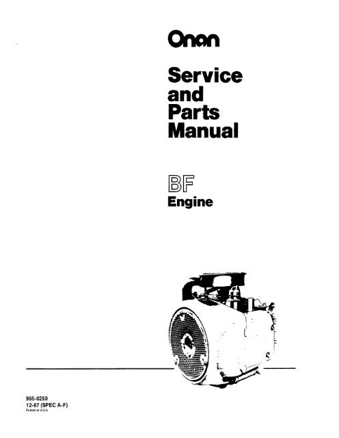 service and parts manual - cummins onan  yumpu