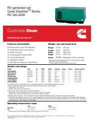 RV generator set Quiet Gasoline Series RV QG 4000 - Cummins Onan