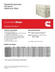 Residential generator RS Series 60000 and 75000 - Cummins Onan