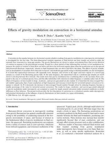 Effects of gravity modulation on convection in a ... - ResearchGate
