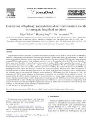 Generation of hydroxyl radicals from dissolved transition metals in ...