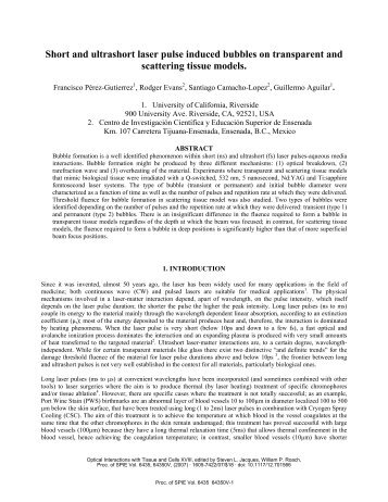 Short and ultrashort laser pulse induced bubbles on - University of ...