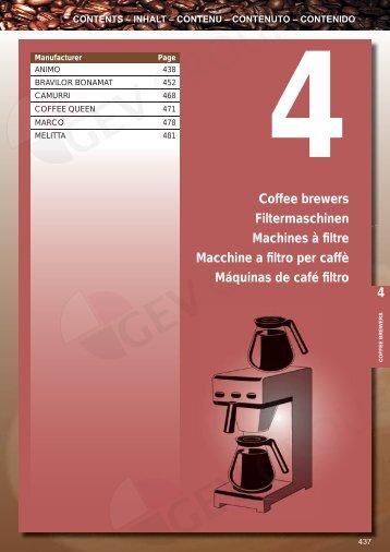 4 4 Coffee brewers Filtermaschinen Machines à filtre Macchine a ...
