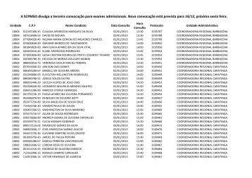 Lista da terceira convocação para exame médico pré