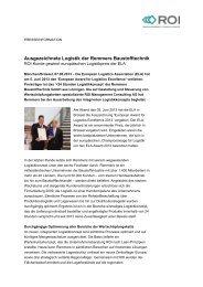 Ausgezeichnete Logistik der Remmers Baustofftechnik - ROI ...