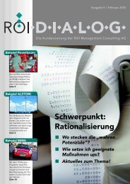 Schwerpunkt: Rationalisierung - ROI Management Consulting AG