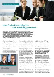Lean Production erfolgreich und nachhaltig einführen