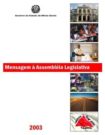 Mensagem do Governador à Assembleia Legislativa, em 2003