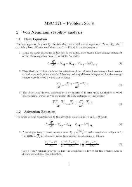 MSC 321 – Problem Set 8 1 Von Neumann stability analysis