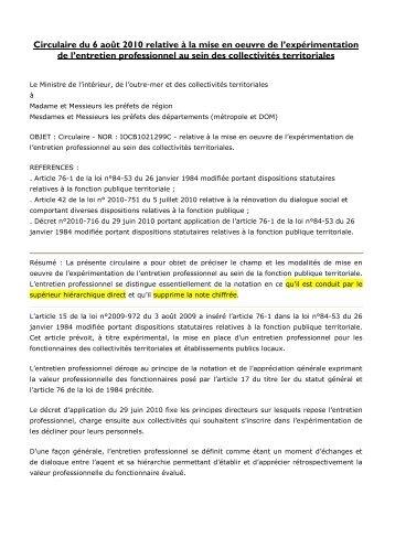 Circulaire du 06 août 2010 relative à la mise en oeuvre de ... - CDG90