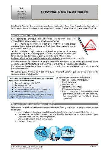 La prévention du risque lié aux légionelles - CDG90