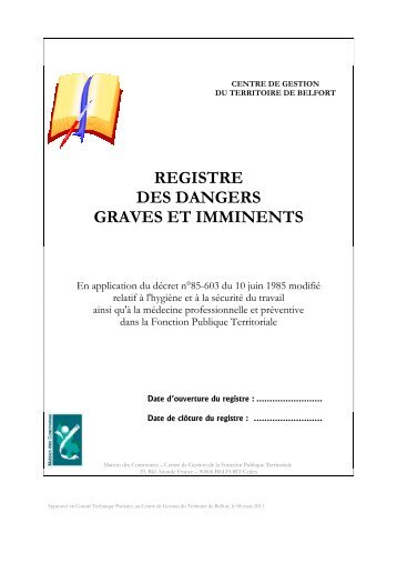 REGISTRE DES DANGERS GRAVES ET IMMINENTS - CDG90