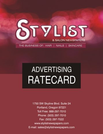advertising ratecard - Stylist and Salon Newspapers