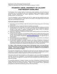 students' union, university of calgary partnership guidelines