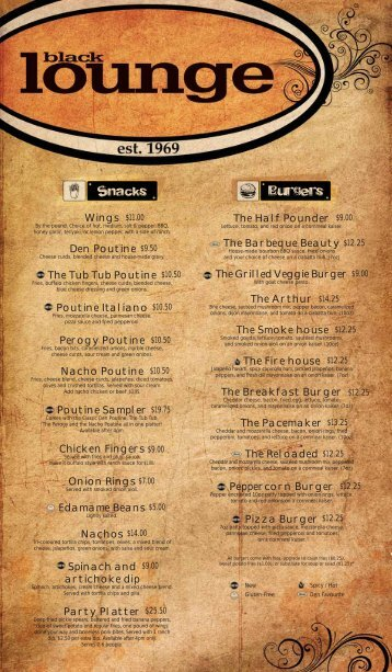 The Black Lounge Fall Food Menu - Students' Union