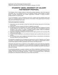 students' union, university of calgary partnership proposal