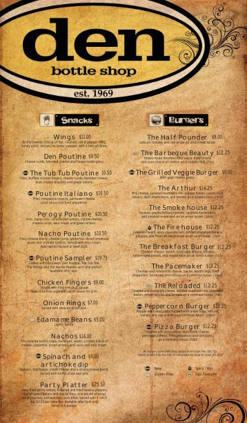The Den - Fall Food Menu - Students' Union