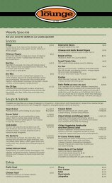 Weekly Specials Snacks Soups & Salads Extras - Students' Union