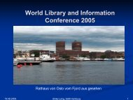 World Library and Information Conference 2005 - Staats- und ...