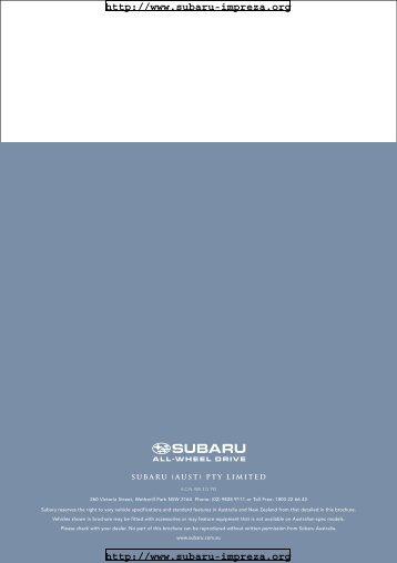 Technical Description - Subaru Impreza