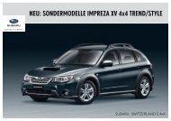 NEU: SONDERMODELLE IMPREZA XV 4x4 TREND/STYLE - Subaru