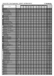 Liste de Prix / Liste d'application LEGACY / OUTBACK MY12 - Subaru